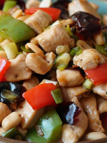 A close up view of chinese style kung pao chicken.
