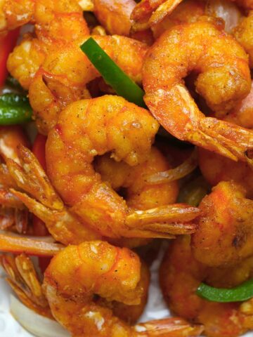 A close up view of Chinese style salt and pepper shrimp.