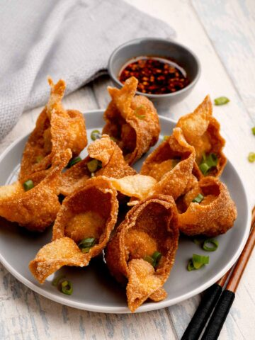 crispy fried wonton and sprinkle of green onions on the grey plate and a small chilli oil dipping bowl in the background.