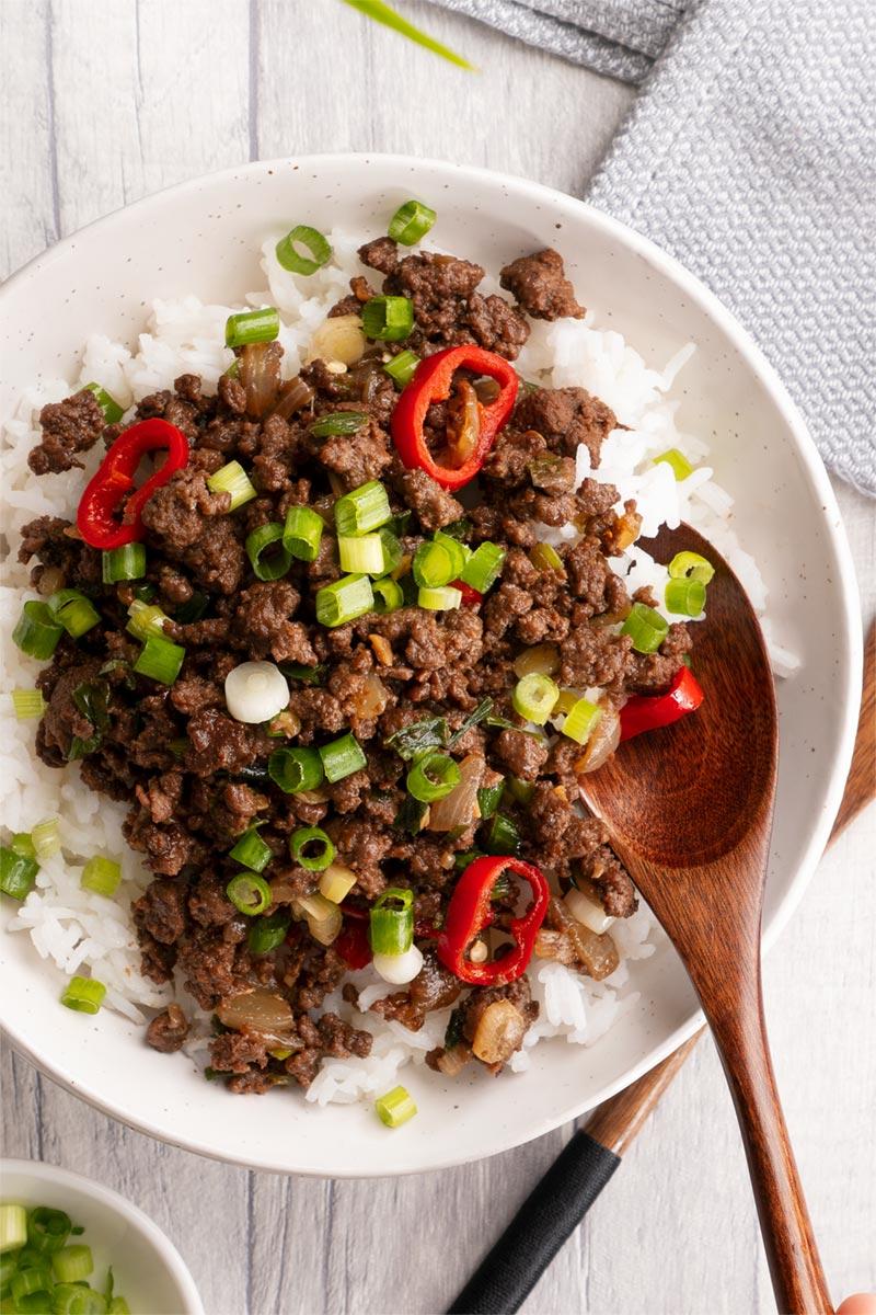 Mongolian beef with ground beef