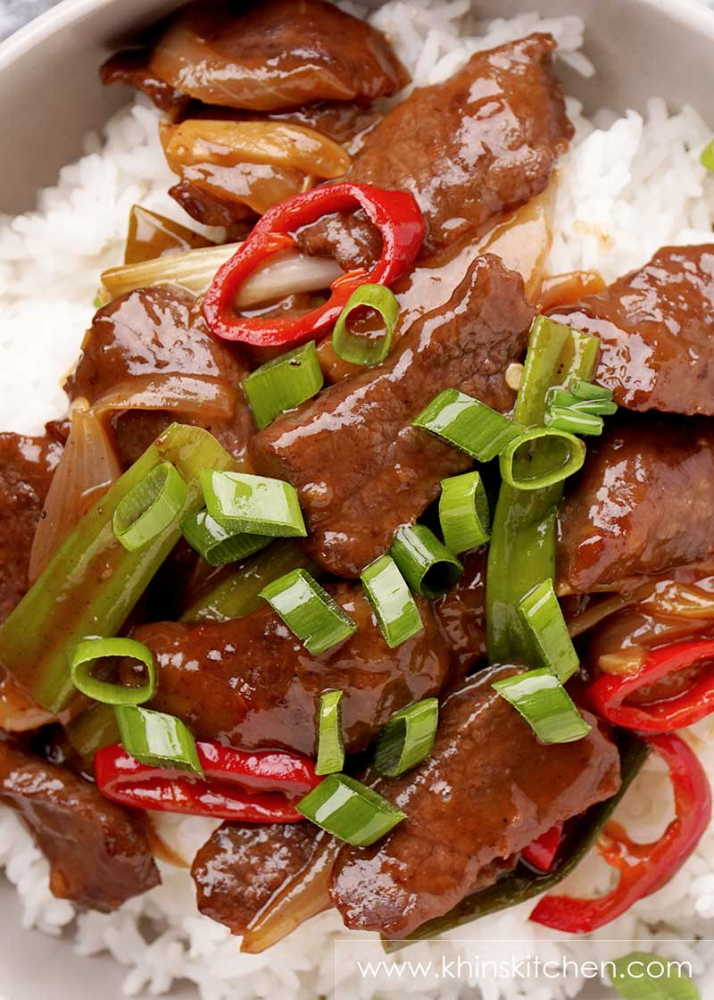 Juicy tender beef steak slices tossed in brown Mongolian sauce, loaded with chopped spring onions and chilli slices.