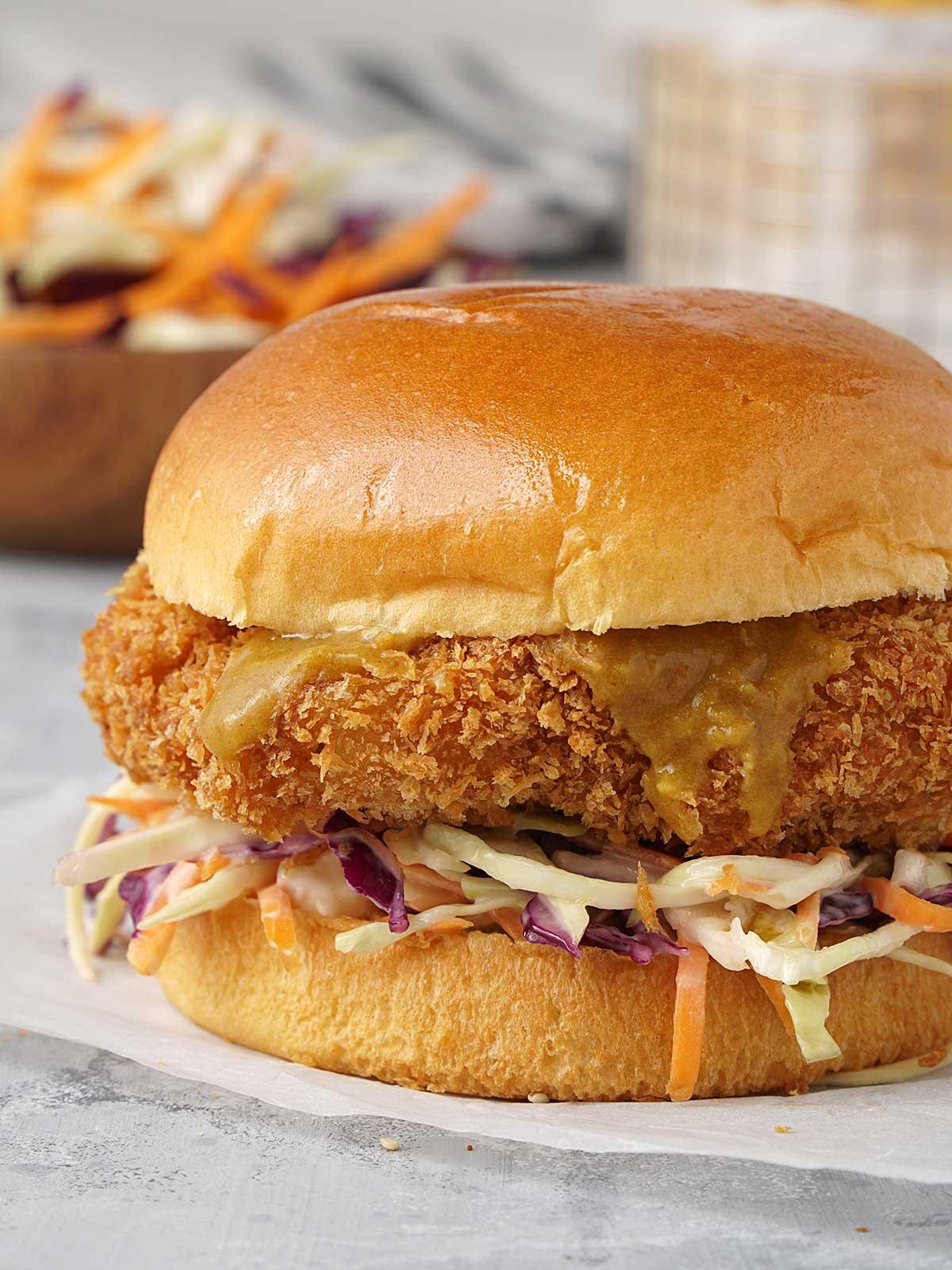 close up view of japanese katsu chicken burger