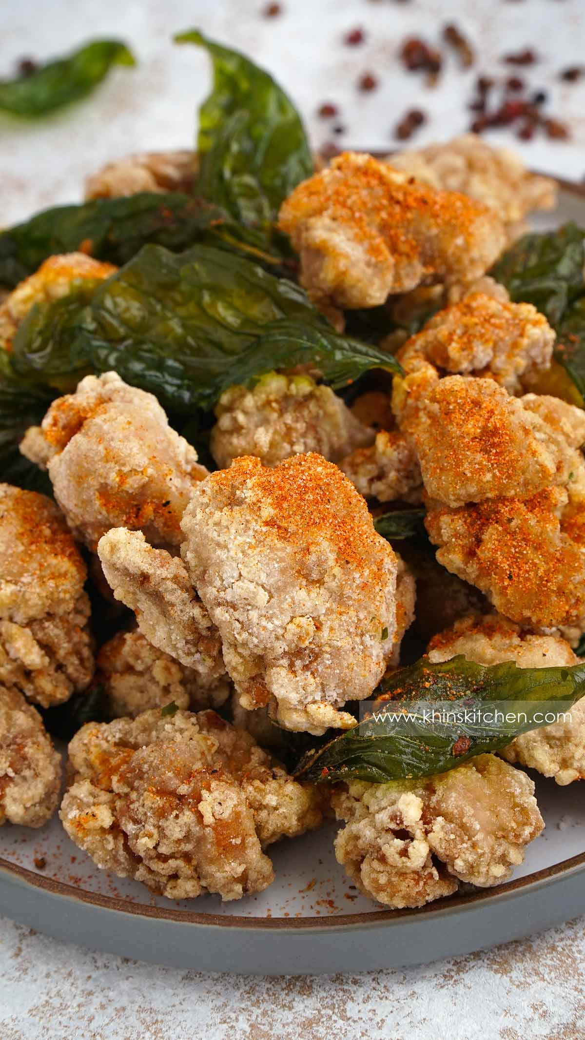 A close up view of thaiwanese style fried chicken