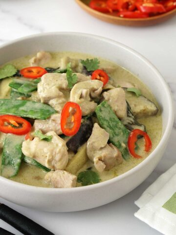 close up view of thai curry.