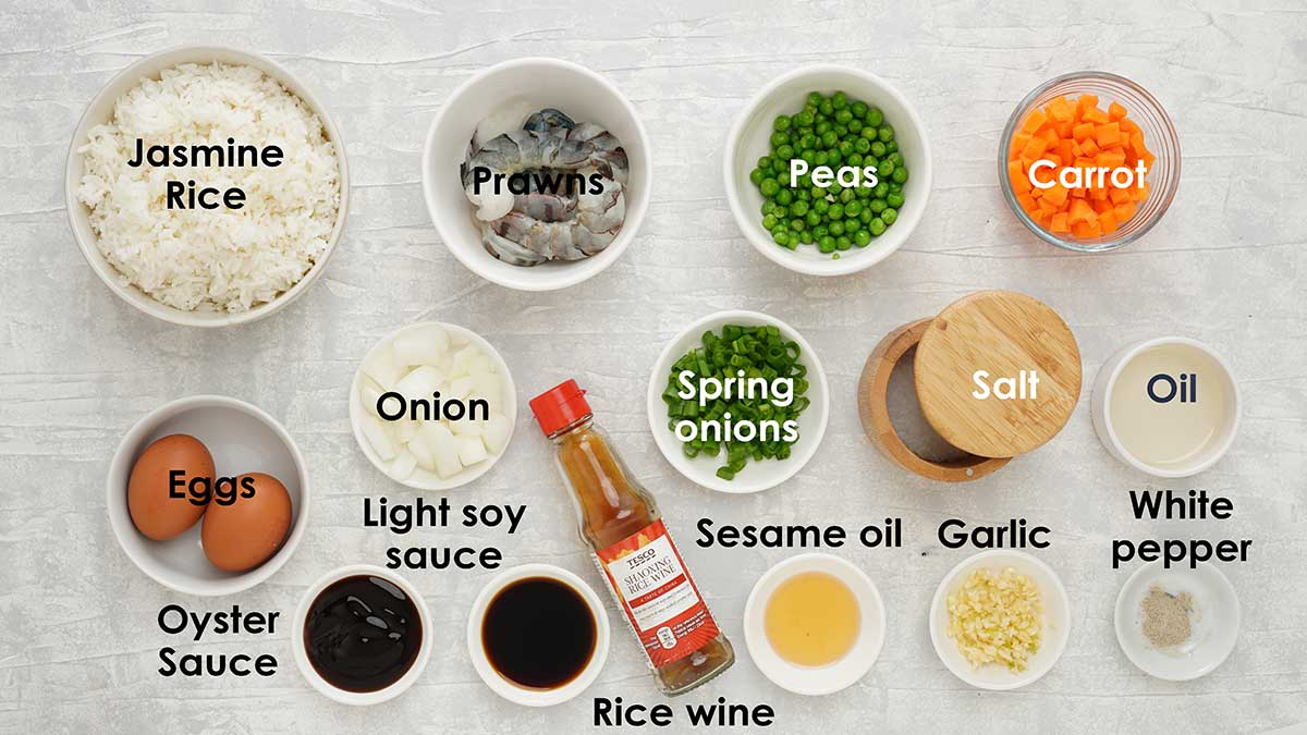 Labelled ingredients of making fried rice.