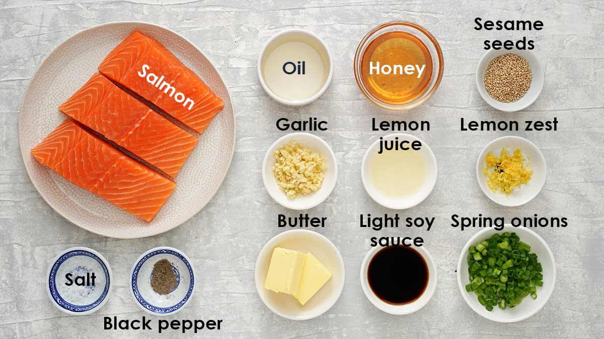 Ingredients for honey garlic salmon