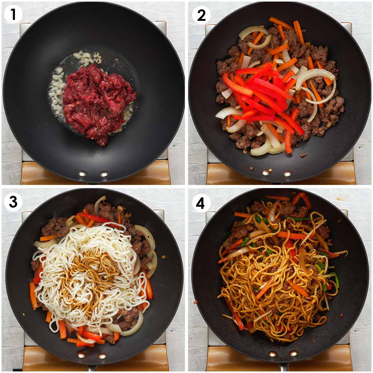 Four image collage showing how to make beef chow mein.