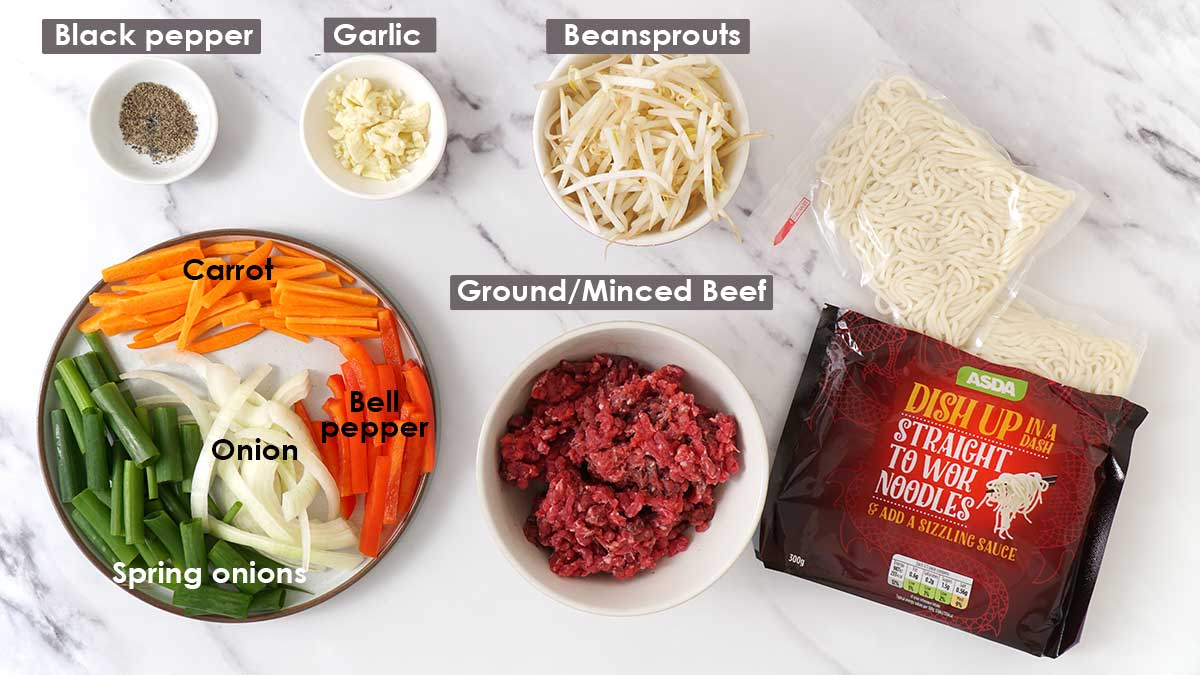 Labelled ingredients for beef chow mein.