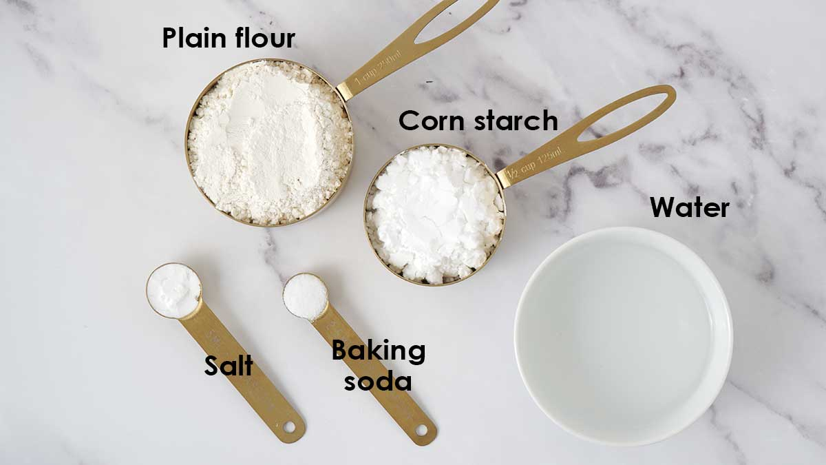 Ingredients for chicken balls batter.
