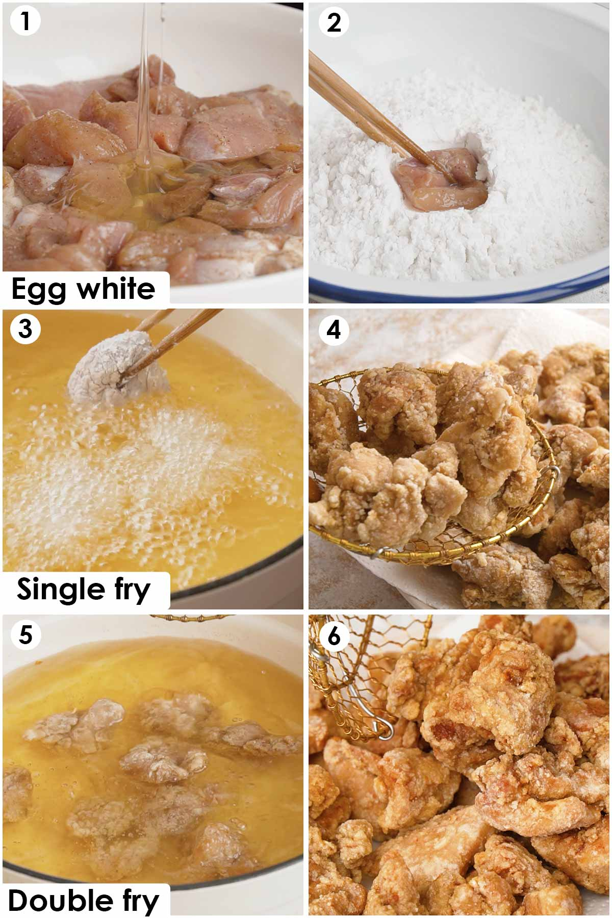 Six image collage showing how to make Taiwanese popcorn chicken.