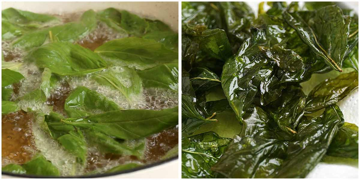Two image showing frying basil leaves.