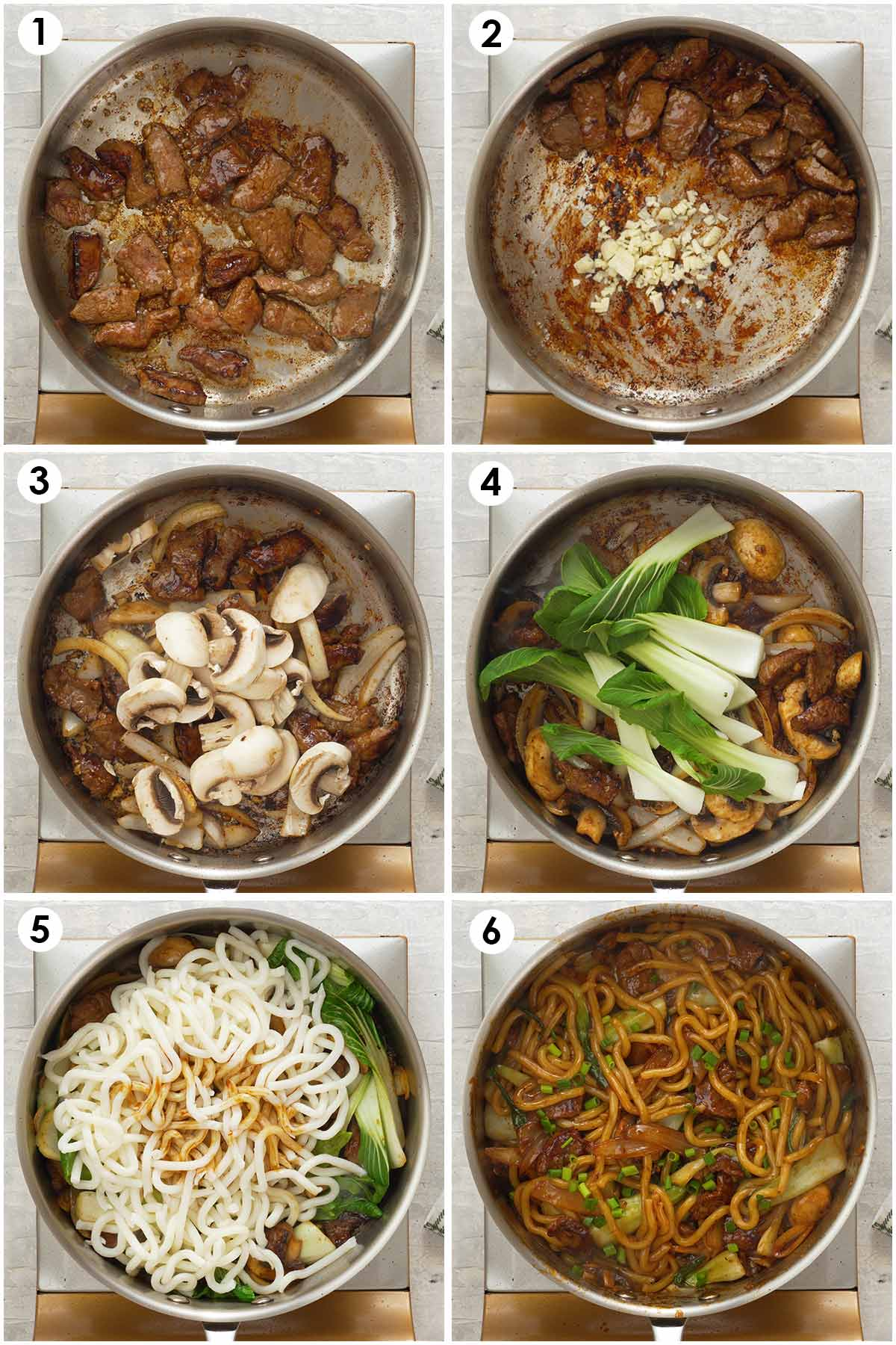 Six image collage showing how to cook beef udon stir fry.