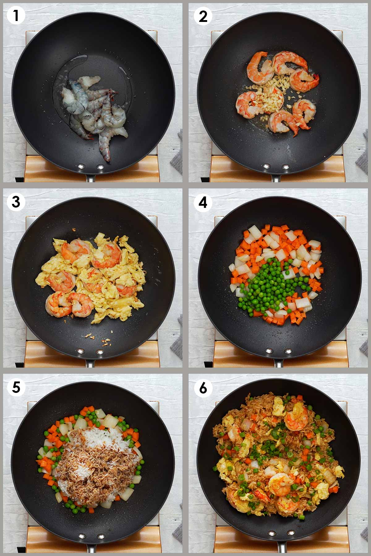 Six image collage showing how to make prawns fried rice.