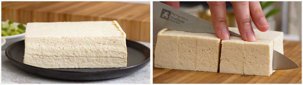 Two image collage showing how to prepare the tofu.