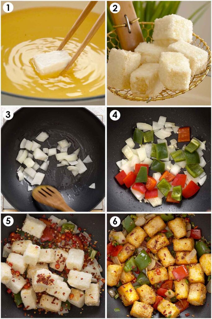 Six image collage showing how to make salt and pepper tofu.