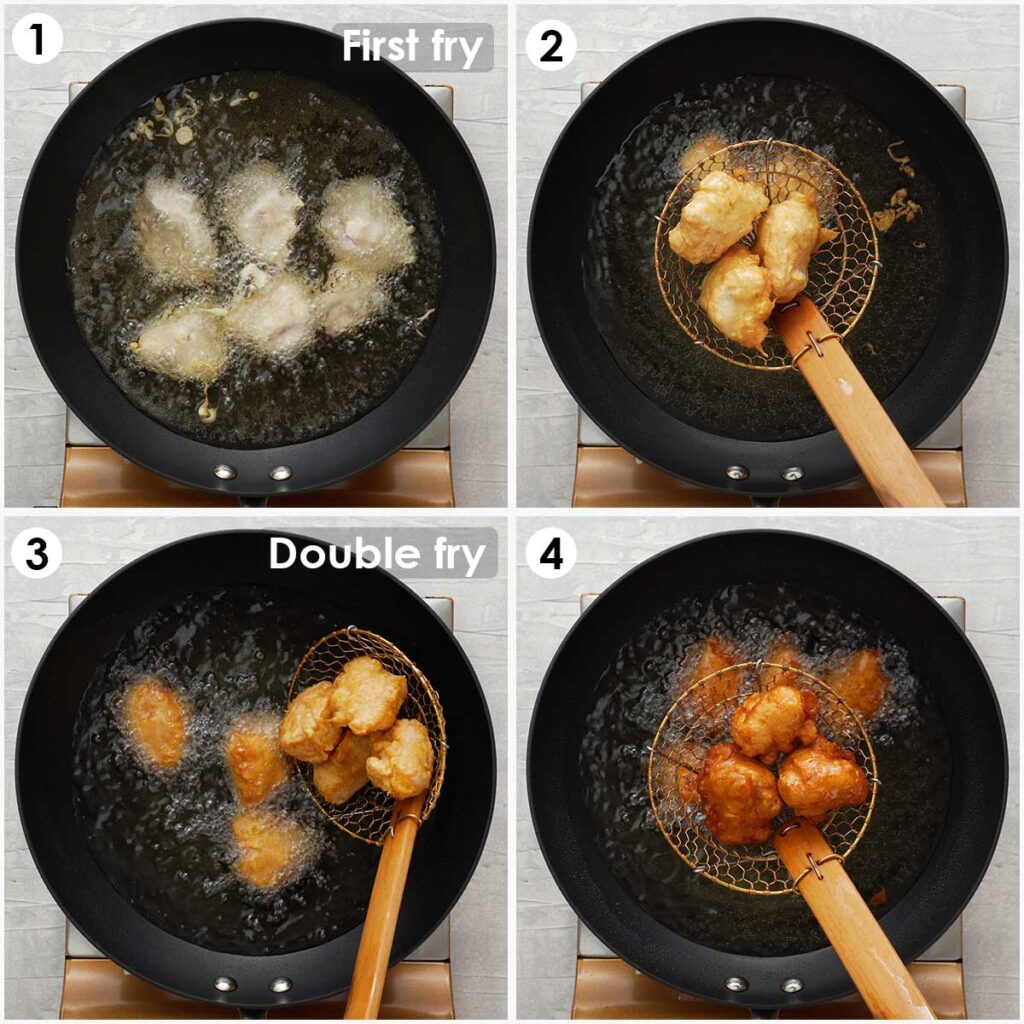 four image collage showing how to fry chicken balls.