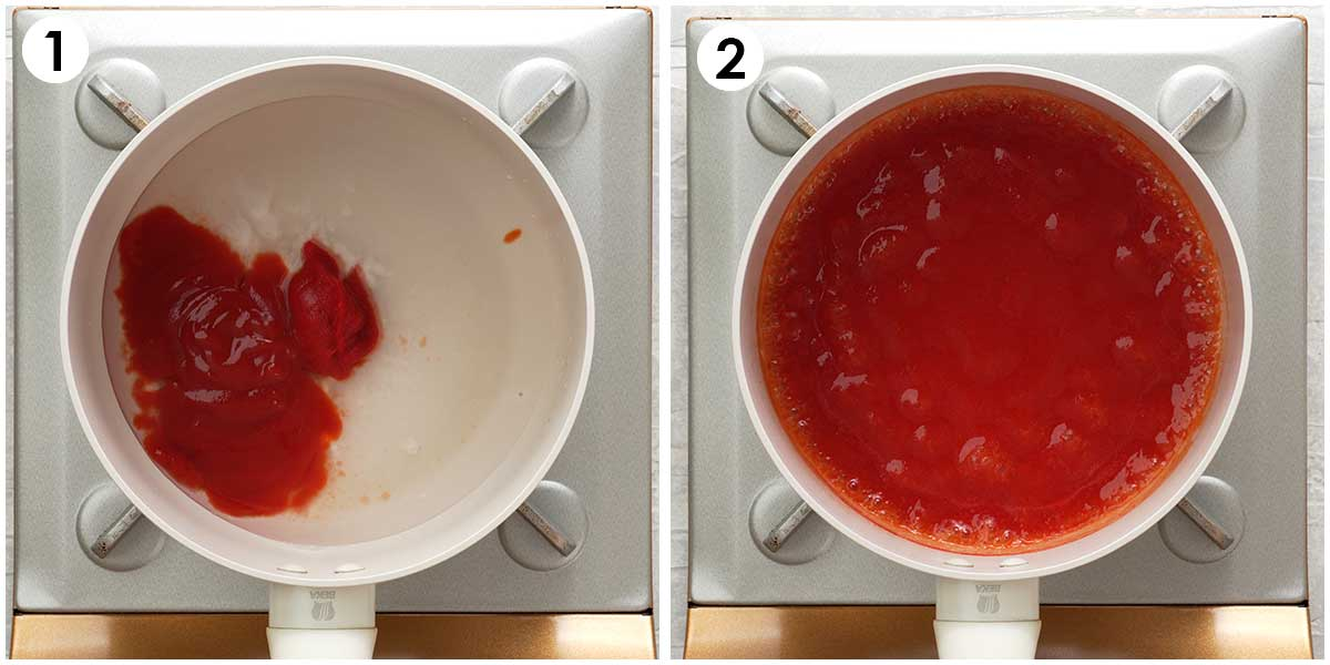 Two image collage showing how to make sweet and sour sauce.