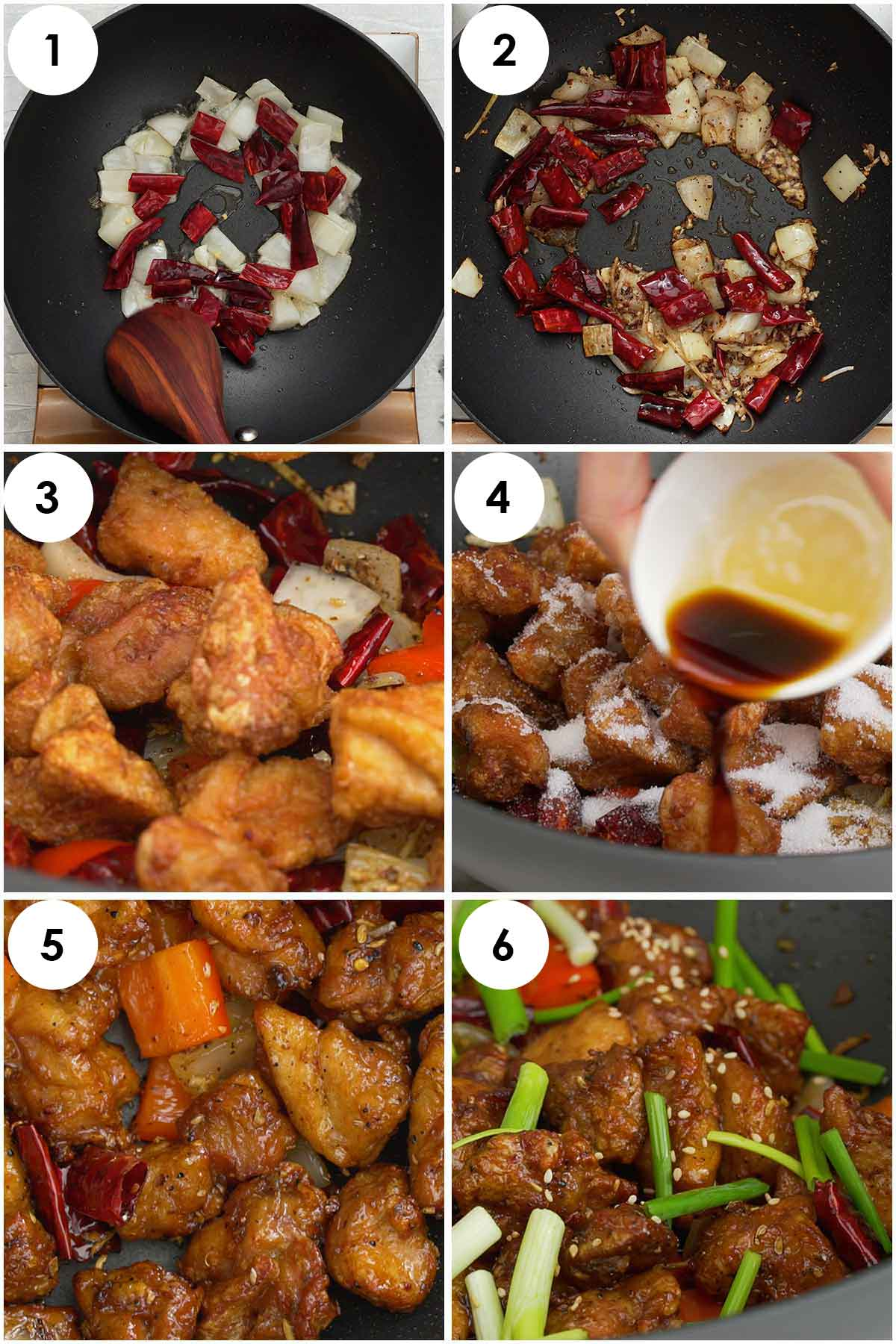 Six image collage showing how to make Szechuan Chicken.
