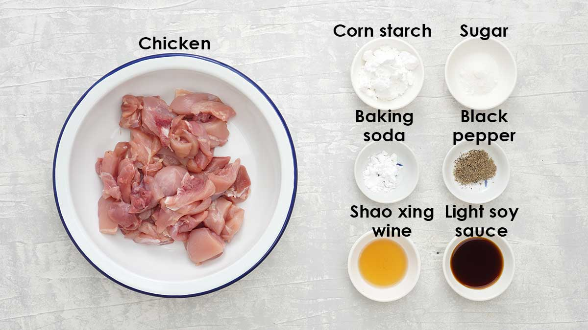 Labelled ingredients for chicken marinade.