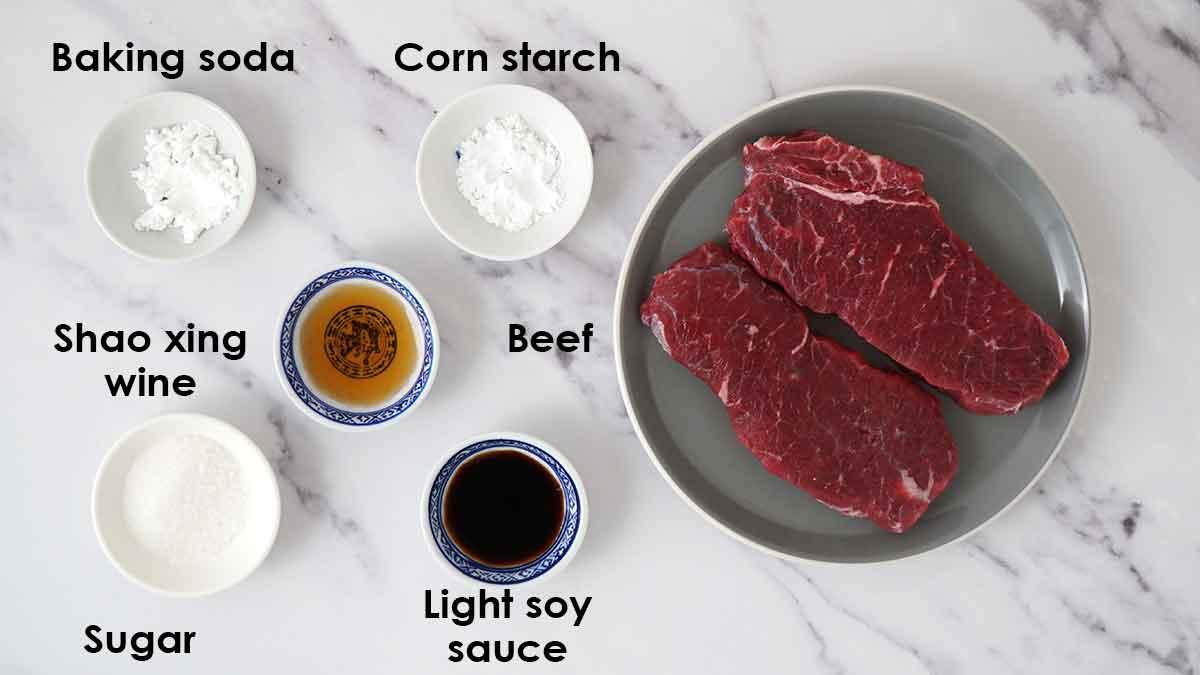 Labelled beef marinade ingredients.