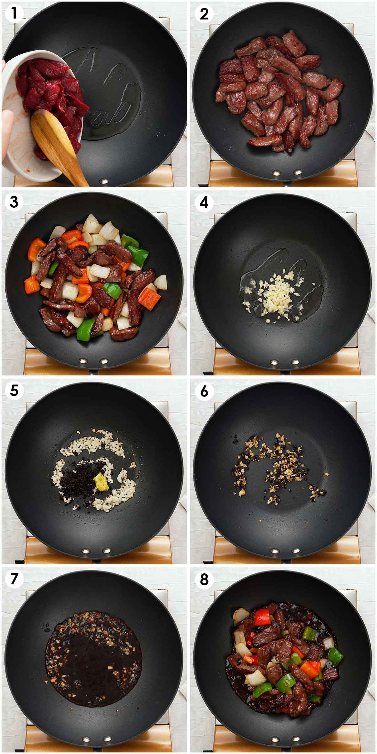 Eight image collage showing how to stir fry beef with black bean sauce.