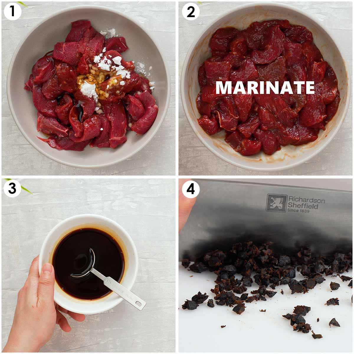 Four image collage showing how to prepare beef marinade, stir fry sauce and black beans.