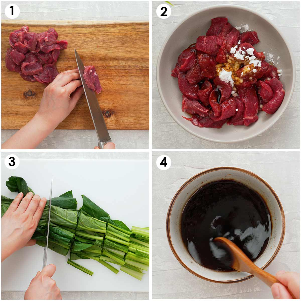 Four image collage showing how to prepare ingredients.
