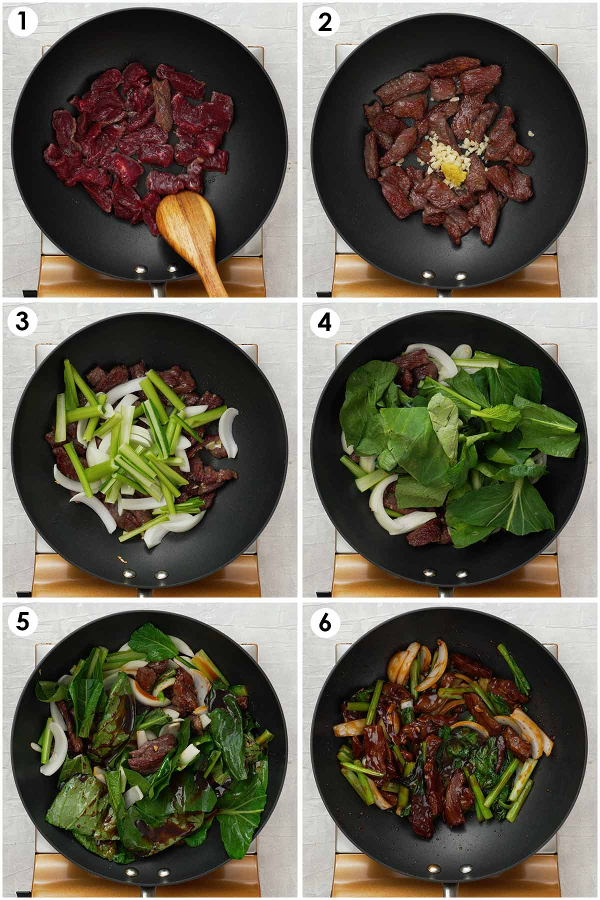 Six image collage showing how to make stir fry beef in oyster sauce.