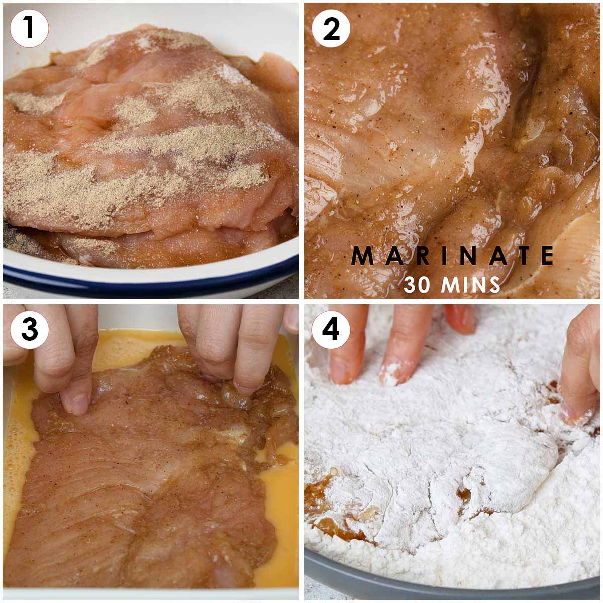 4 image collage showing how to marinate and coat the chicken fillets
