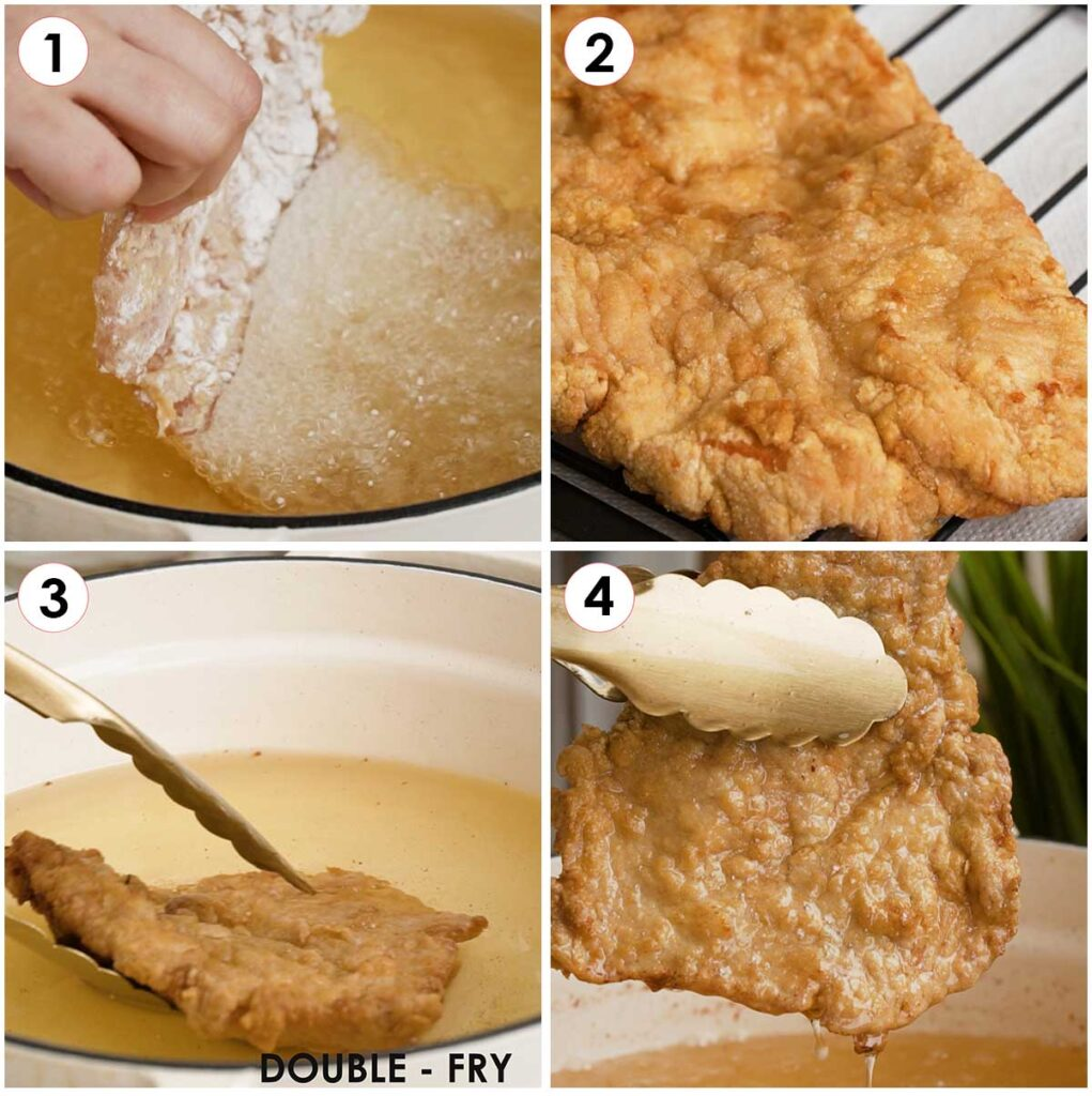 4 image collage showing how to deep fry and double fry the chicken fillets.