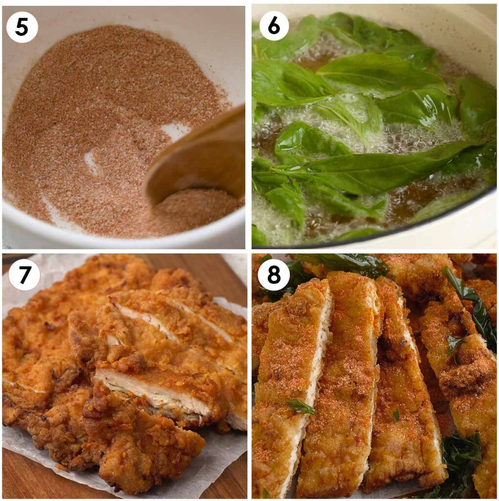 4 image collage showing how to make Taiwanese chilli salt, fry basil, and cut the fried chicken slices.