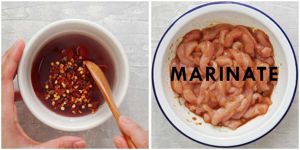 Two image collage showing preparation chicken marinade and chilli sauce.