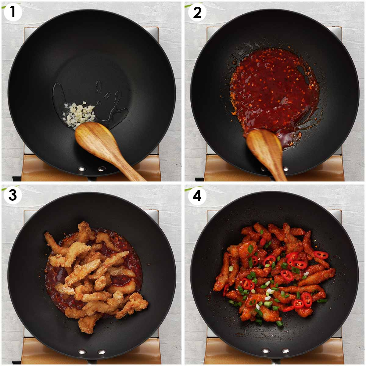 Four image collage showing cooking process of fried chicken strips tossed with chilli sauce.