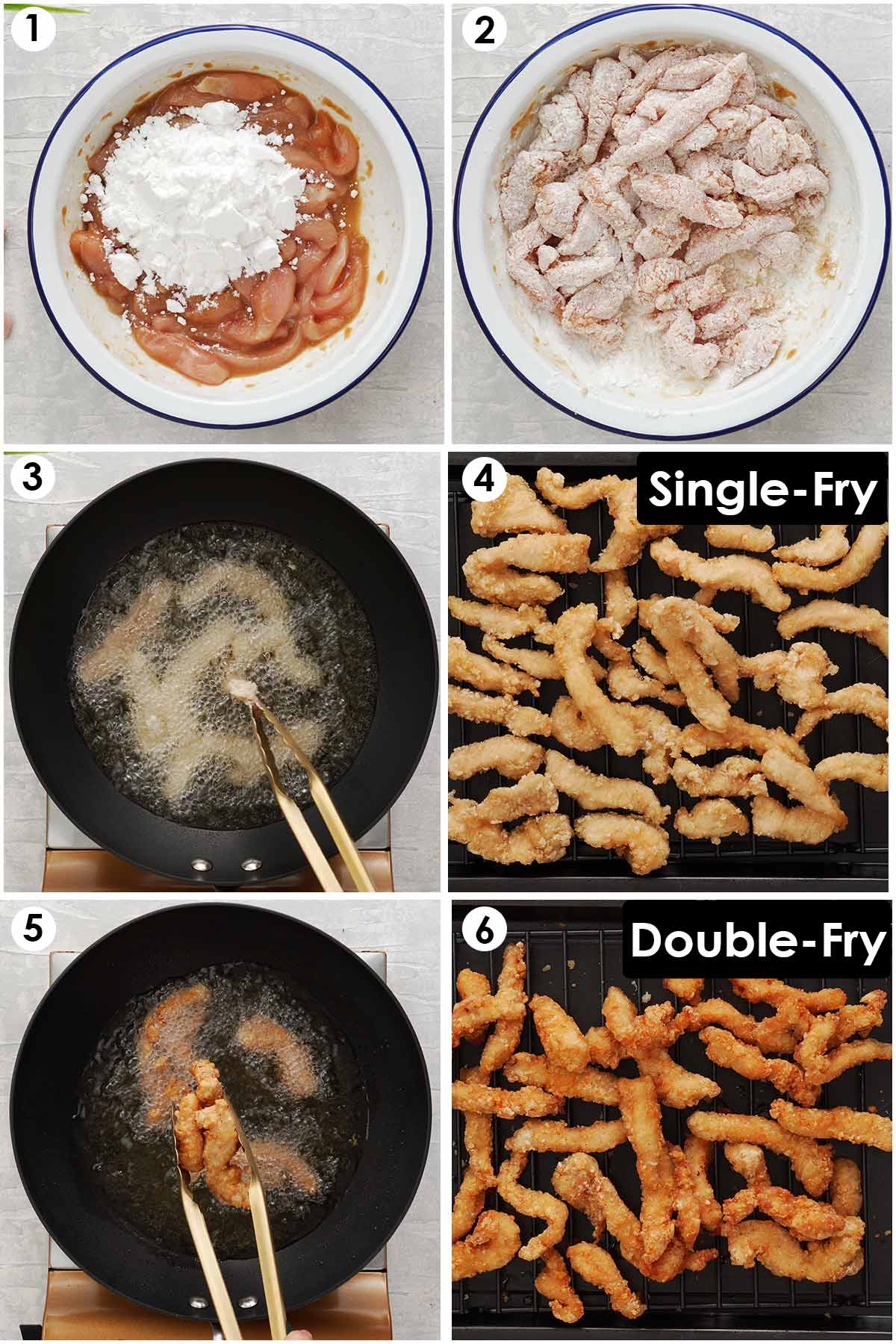 Six image collage showing, how to coat chicken strips and double fry.
