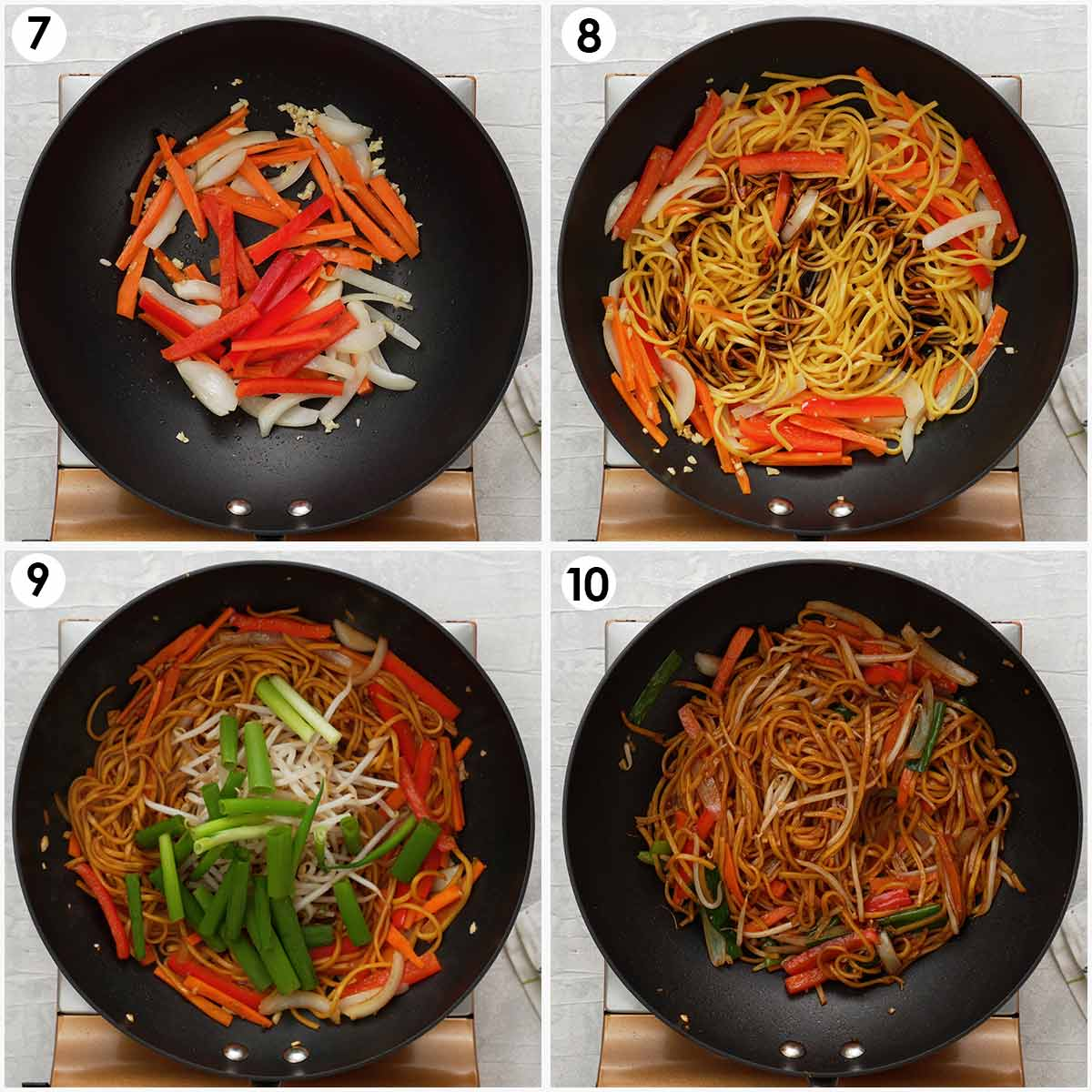 Four image collage showing how to cook the stir fried noodles.