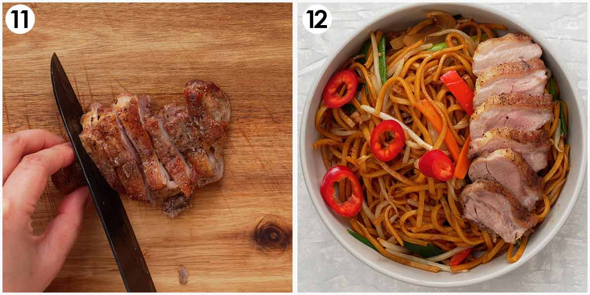 Two image collage showing how to serve the cooked duck thigh on the noodles.