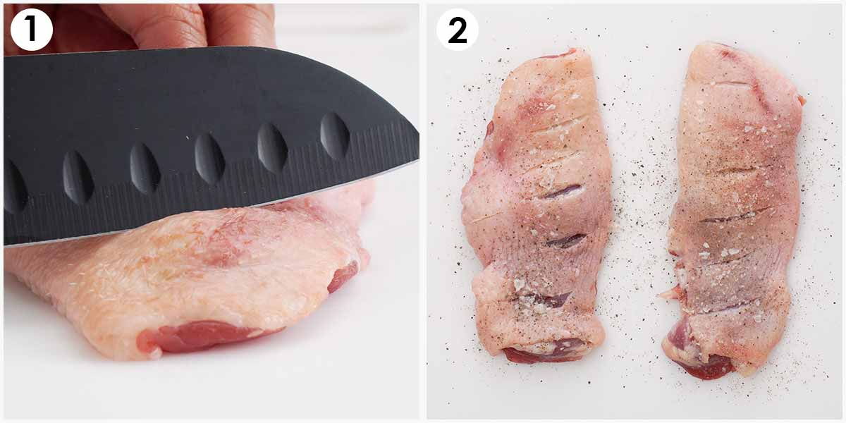 2 image collage showing how to season the duck thigh.