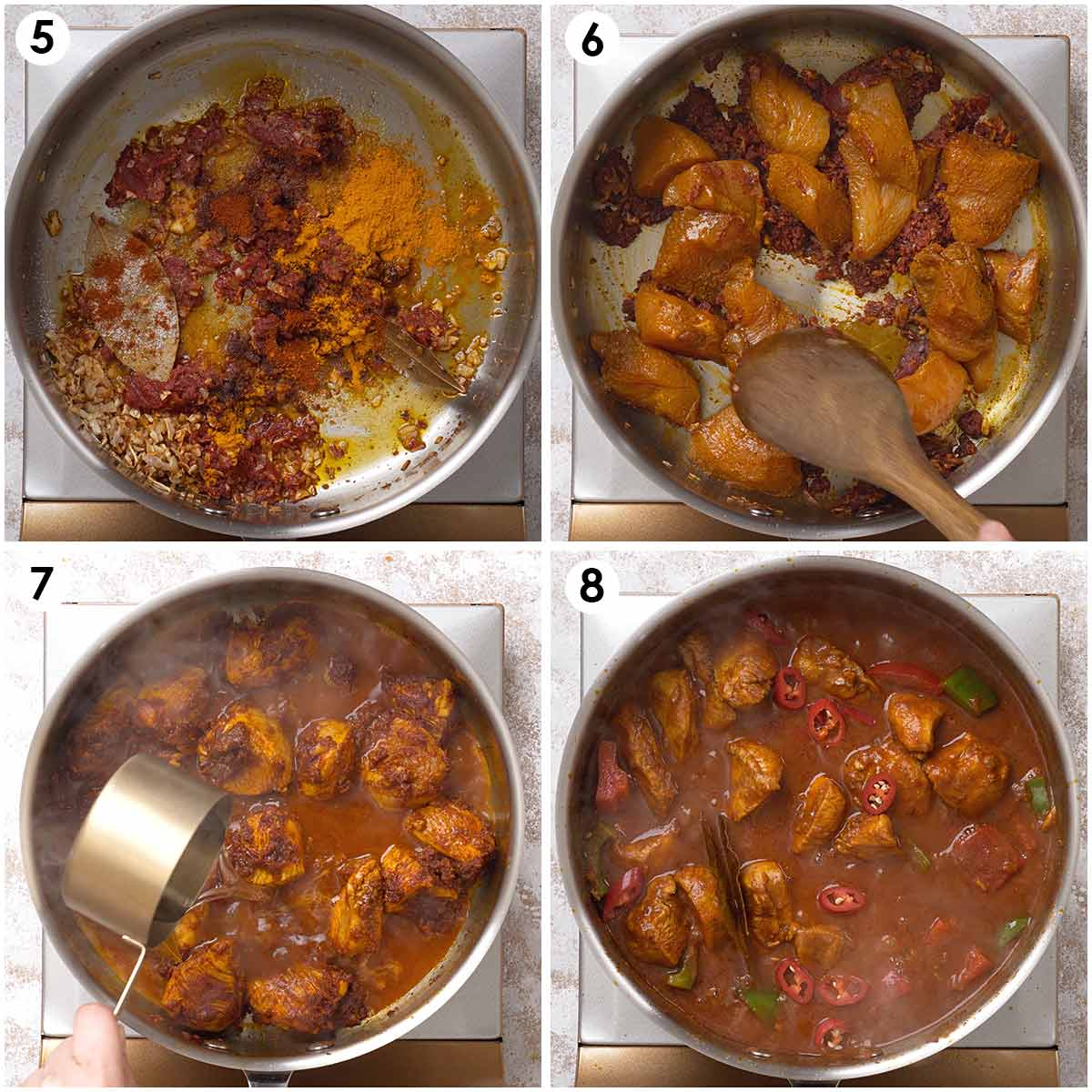 Four image collage showing how to cook chicken curry.