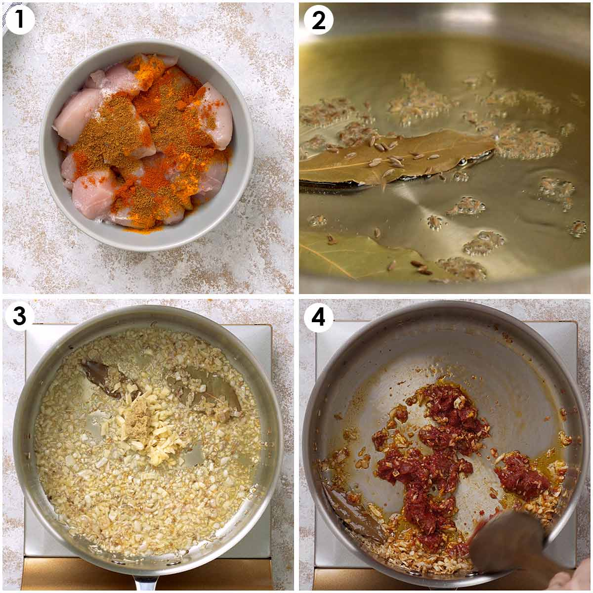 Four image collage showing how to marinade chicken and make curry sauce.