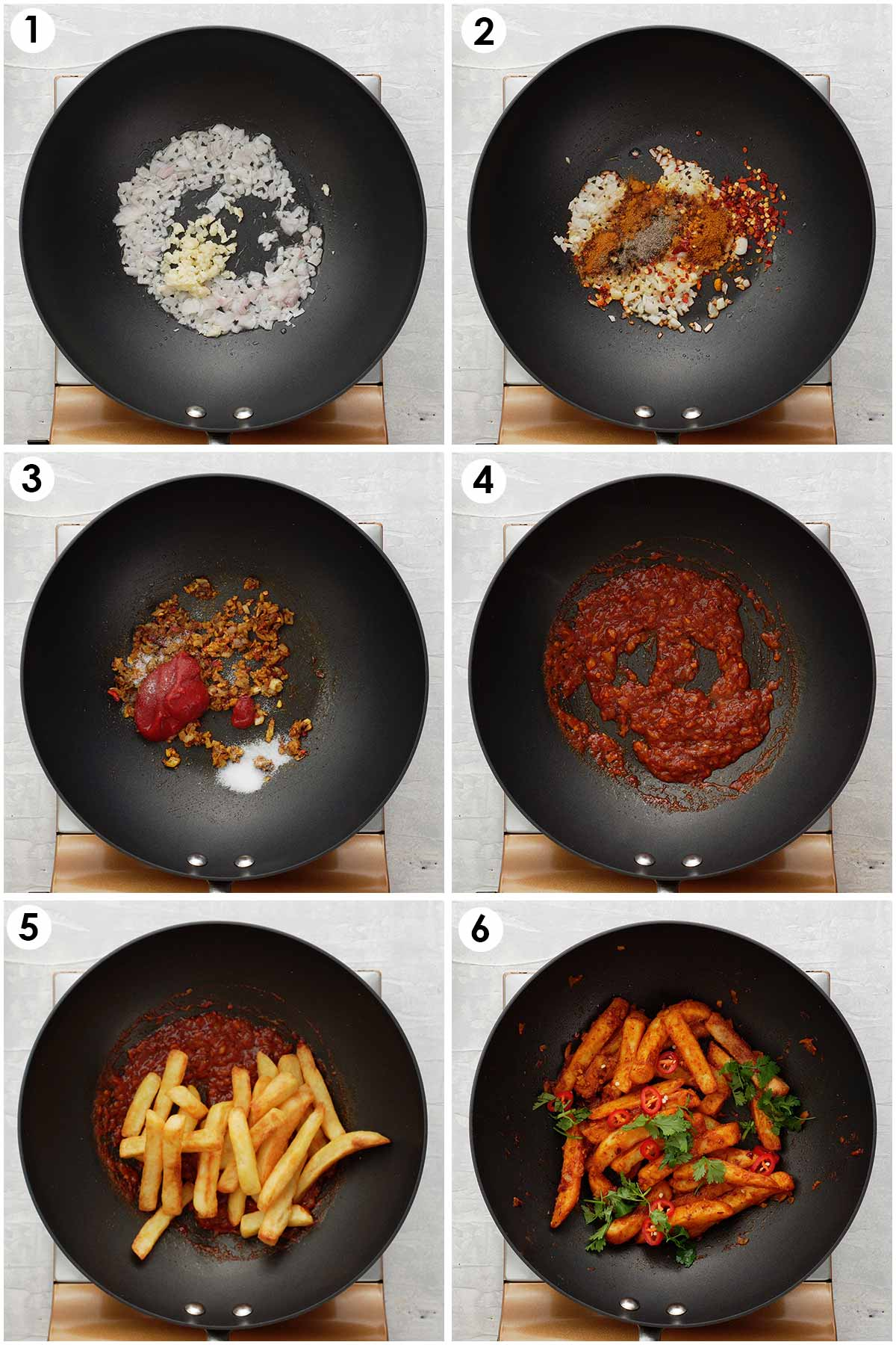 6 image collage showing how to make masala chips.