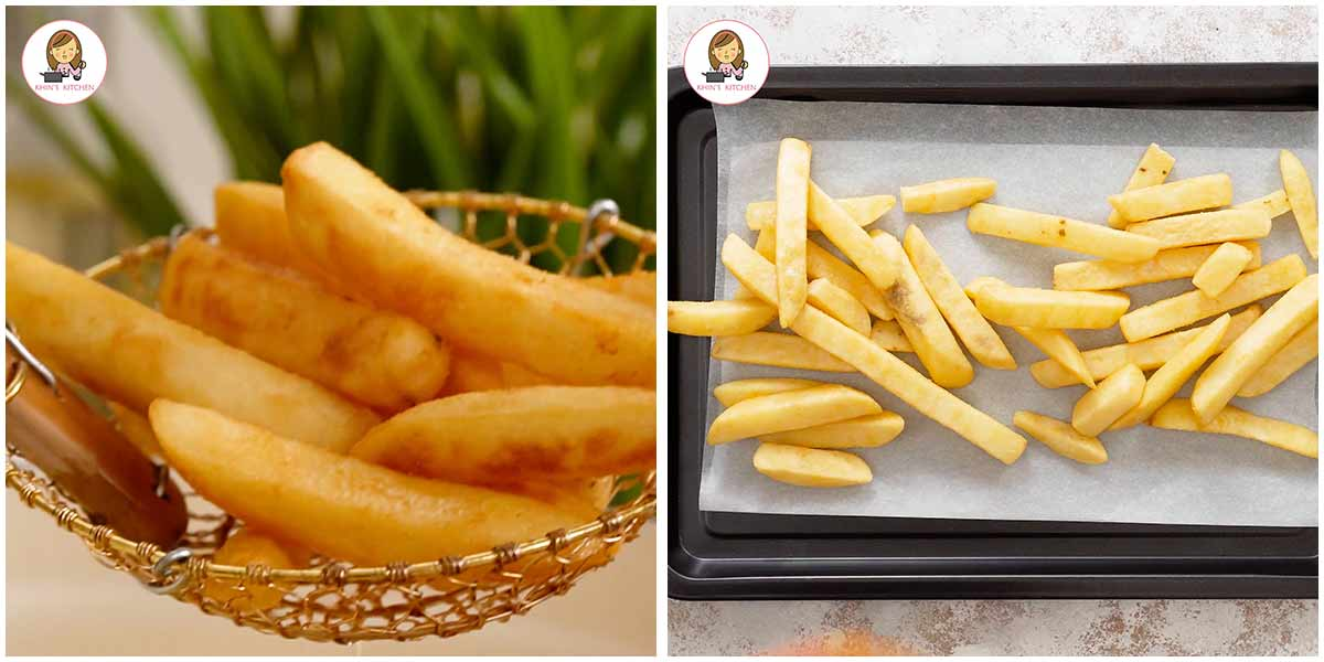 2 image collage showing how to prepare the chips.