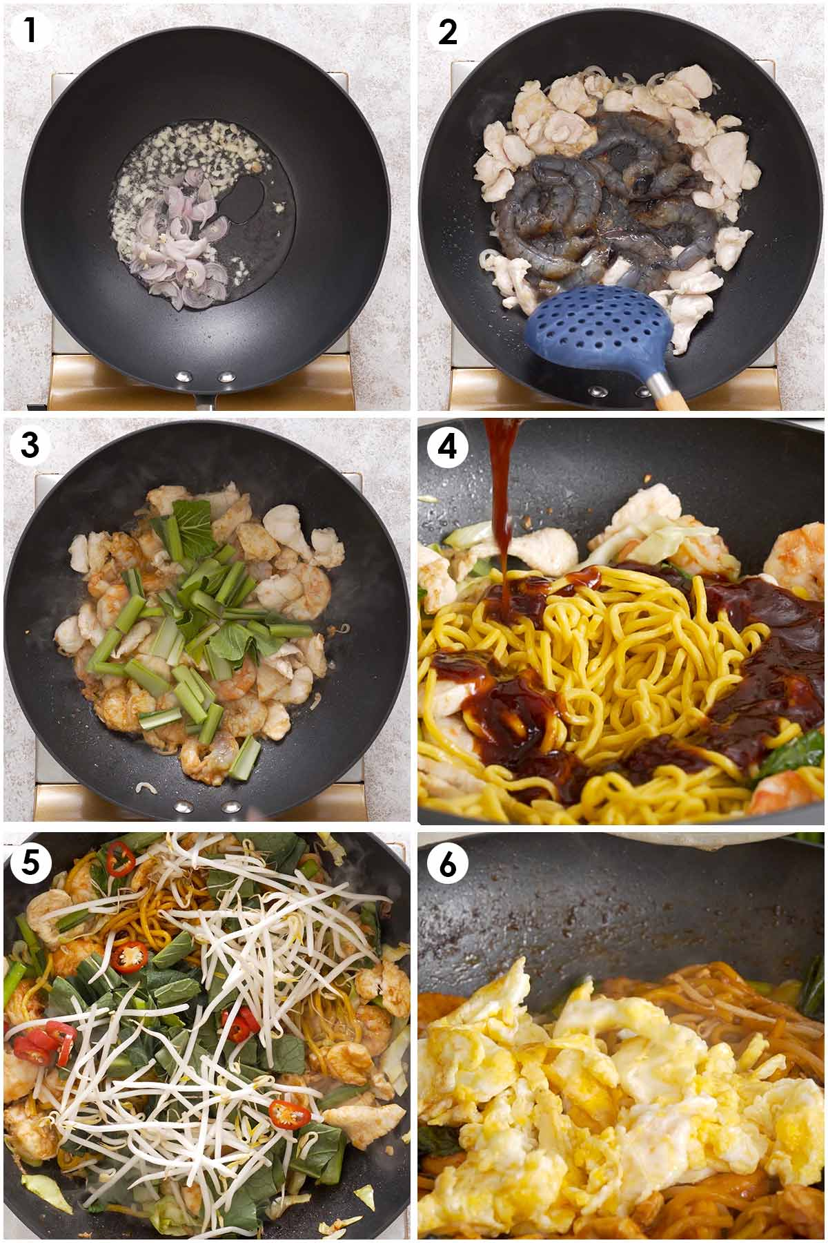 6 image collage showing how to make Malaysian stir fry noodles.
