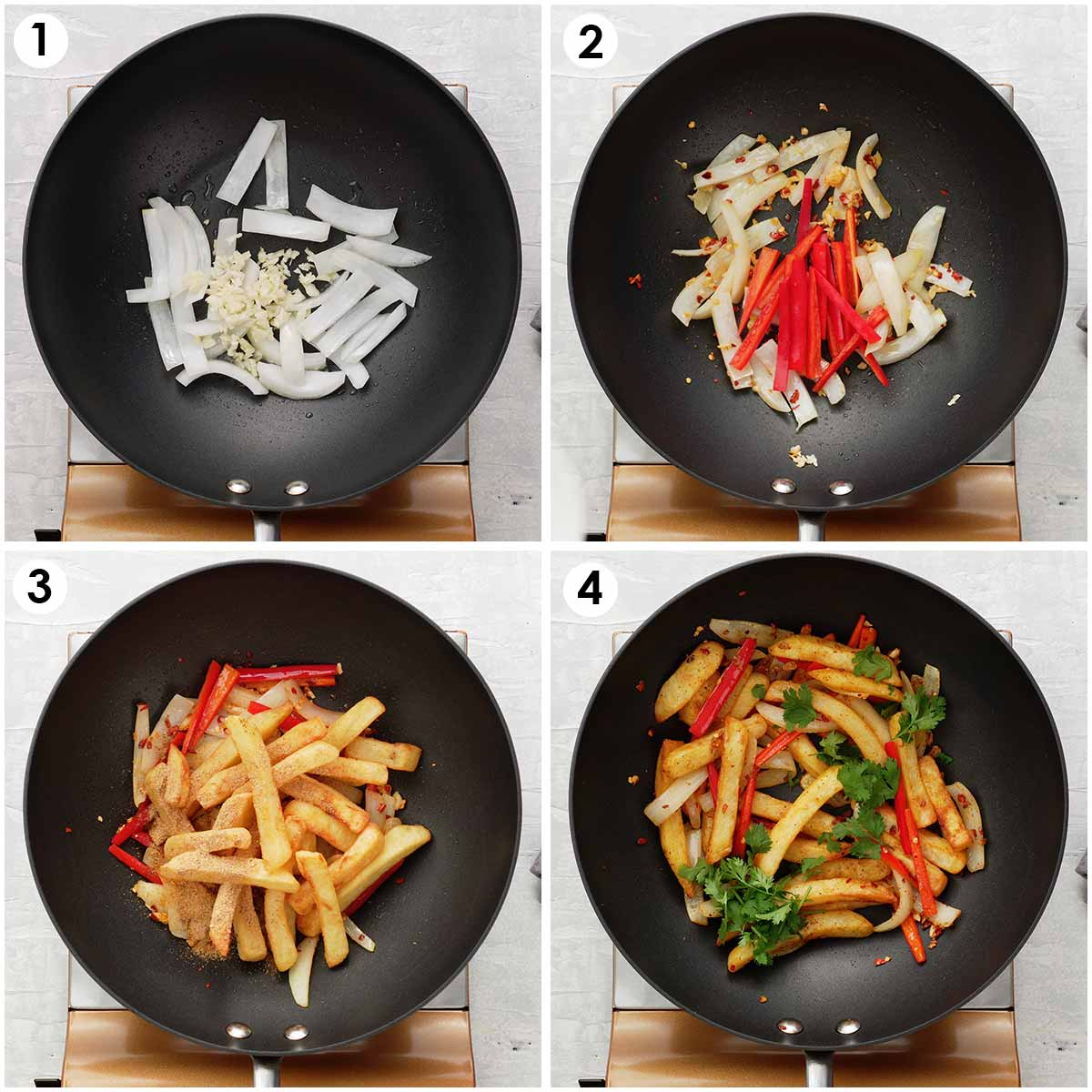 4 image collage showing how to make salt and chilli chips.