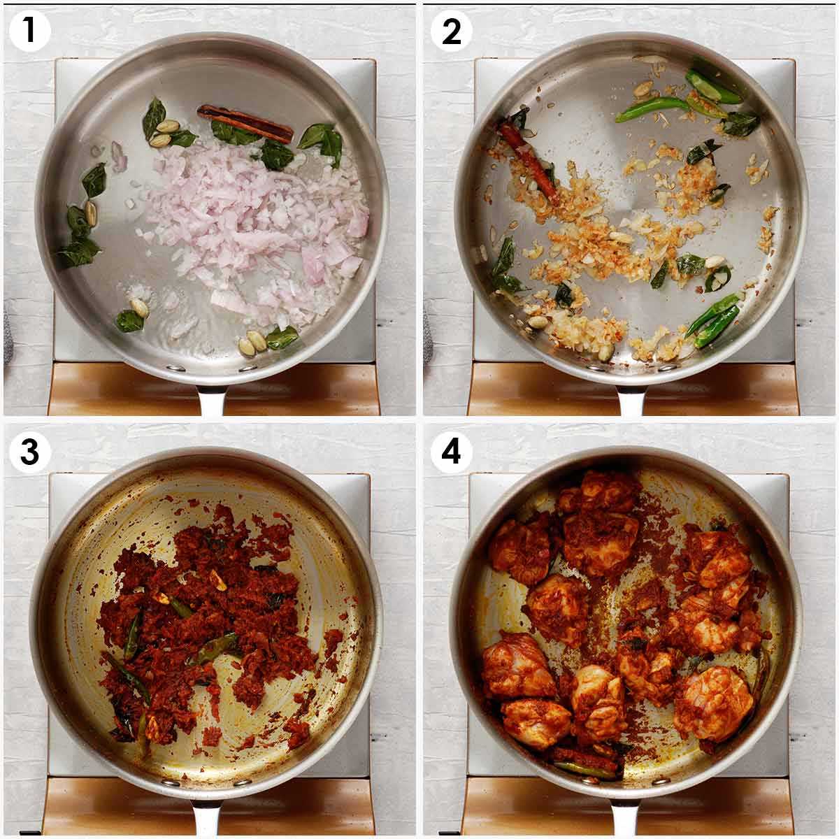 Four image collage showing how to make chicken curry.